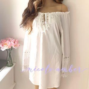 Unique BOHO OFF shoulder white crocheted dress